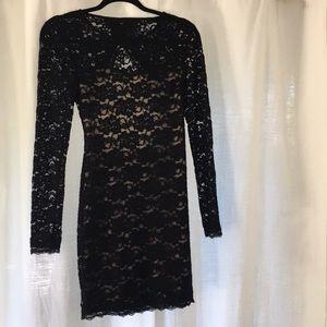 Express lace open back dress